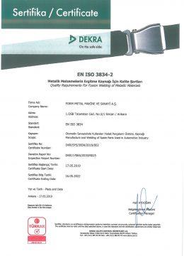 EN ISO 3834-2 Kaynaklı Üretim Yeterlilik Sertifikası